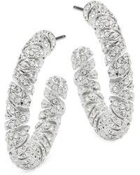 Adriana Orsini | Zen Pave Crystal Hoop Earrings | Lyst