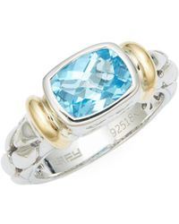 Effy - 18k Gold, 925 Sterling Silver & Blue Topaz Solitaire Ring - Lyst