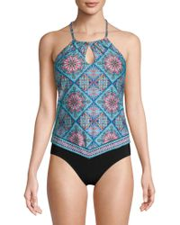 Laundry by Shelli Segal - Printed Tankini Top - Lyst