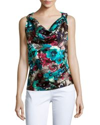 St. John - Floral Contoured Top - Lyst