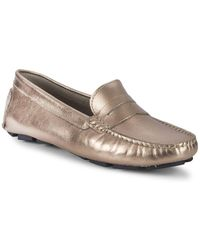 Saks Fifth Avenue - Honeycomb Embossed Metallic Leather Penny Drivers - Lyst