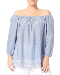NYDJ - Embroidered Off-the-shoulder Top - Lyst