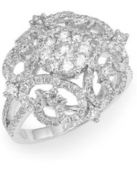 Effy - Diamond & 14k White Gold Filigree Ring - Lyst