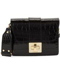 Valentino By Mario Valentino - Benedicte Croc-embossed Leather Shoulder Bag - Lyst