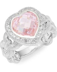 Judith Ripka - Fontaine Sterling Silver Pink Crystal & White Topaz Heart-shaped Ring - Lyst