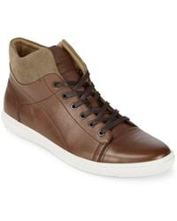Kenneth Cole - Design Leather High-top Trainers - Lyst