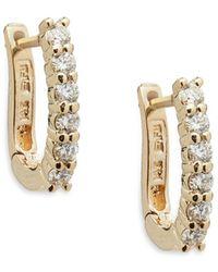 Effy - Diamond And 14k Yellow Gold Hoop Earrings, 0.47 Tcw - Lyst