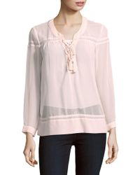The Kooples - V-neck Long-sleeve Lace Top - Lyst