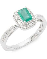 Effy - 14k White Gold, Diamonds And Emerald Ring - Lyst