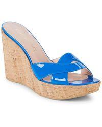 Stuart Weitzman - Overit Leather Wedge Sandals - Lyst
