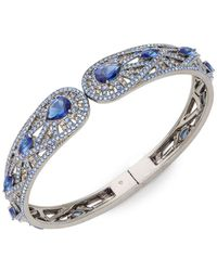 Adriana Orsini - Phoenix Blue & White Crystal Hinge Cuff Bracelet - Lyst