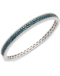 Effy - 14k White Gold & Black Diamond Bangle Bracelet - Lyst