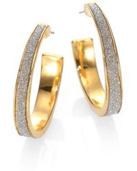 "ABS By Allen Schwartz - Glitter-coated Hoop Earrings/1"" - Lyst"