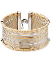 Alor - Classique Wide Steel & 18k Gold Cuff Bracelet - Lyst