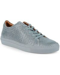 Aquatalia - Alaric Striped Embossed Leather Sneakers - Lyst
