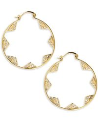 Noir Jewelry - Cz-studded Hoop Earrings- 1.75in - Lyst