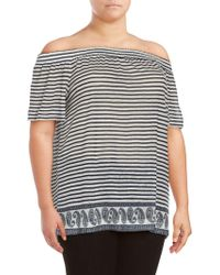 Vince Camuto - Plus Size Striped Off-the-shoulder Top - Lyst