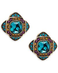 Heidi Daus - Aqua Crystal Button Stud Earrings - Lyst