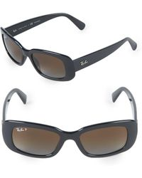 Ray-Ban - 50mm Polarized Rectangle Sunglasses - Lyst