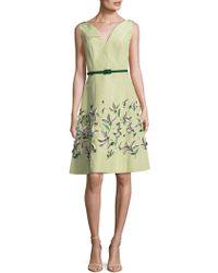 Carolina Herrera - Embroidered Silk A-line Dress - Lyst