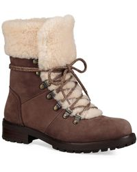 UGG - Fraser Shearling And Suede Combat Booties - Lyst