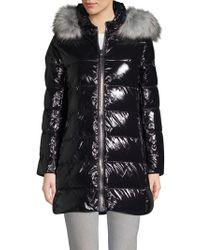 Donna Karan - Faux Fur-trimmed Down Puffer Coat - Lyst