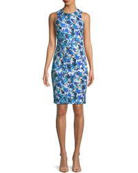 7ea6157b30 Lyst - Calvin Klein Abstract Floral Ruched Sheath Dress