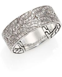 John Hardy - Silver Diamond Ring - Lyst