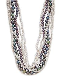 """Belpearl - 2-12mm Multi-color Round & Baroque Pearl Twist Multi-strand Collar Necklace/18"""" - Lyst"""