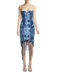 Misha Collection - Floral Lace-up Sheath Dress - Lyst