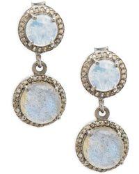 Adornia - Moonstone Labradorite & Diamonds Double-drop Earrings - Lyst