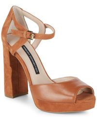 French Connection - Ankle-strap Leather Block Heel Sandals - Lyst