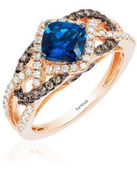 Le Vian - Chocolatier® Strawberry Gold® & Deep Sea Blue Topaztm Interlocking Ring - Lyst