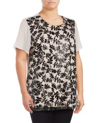Chaus New York - Plus Short Sleeve Sequined Embroidered Blouse - Lyst