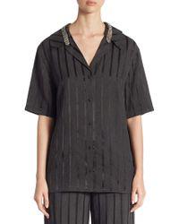 Alexander Wang - Crystal-trim Striped Short-sleeve Pajama Top - Lyst