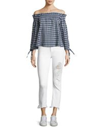 Mcguire - Valletta Cropped Distressed Jeans With Frayed Hem - Lyst