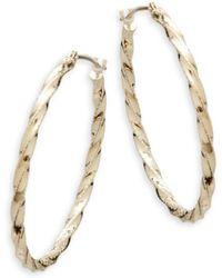 Saks Fifth Avenue - 14k Yellow Gold Deform Hoop Earrings - Lyst