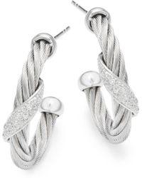 Alor - 18k White Gold & Stainless Steel Diamond Hoop Earrings - Lyst
