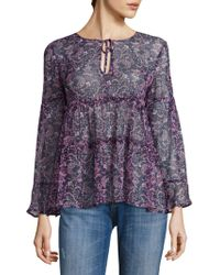 f41348e59bdc7 Joie - Shawni Floral Silk Long-sleeve Blouse - Lyst