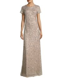 Adrianna Papell - Sequined Scoop-back Gown - Lyst
