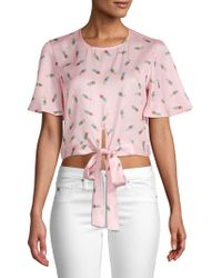 English Factory - Pineapple-print Tie-front Top - Lyst