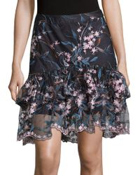 Nanette Lepore - Floral Embroidered Tiered Skirt - Lyst