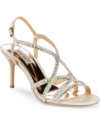Badgley Mischka - Wilde Embellished Leather Sandals - Lyst