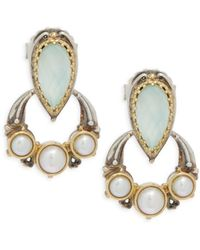 Konstantino - Blue Agate, Pearl, 14k Yellow Gold & Sterling Silver Post Earrings - Lyst
