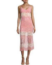 ABS By Allen Schwartz - Lace Midi Slip Dress - Lyst