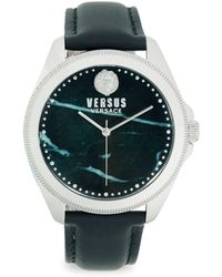 Versus - Faux Marble Stainless Steel Analog Leather Strap Watch - Lyst