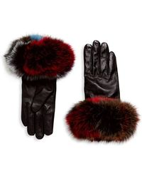Surell - Chic Dyed Fox Fur Leather Gloves - Lyst