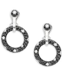 Roberto Coin - Basic Gold Diamond, Black Sapphire & 18k White Gold Drop Earrings - Lyst
