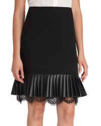 Karl Lagerfeld - Lace-trimmed Pleated Skirt - Lyst