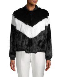 Adrienne Landau - Colorblock Rabbit Fur Bomber Jacket - Lyst